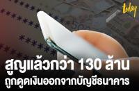 銀行口座から約1億3000万バーツが引き出された